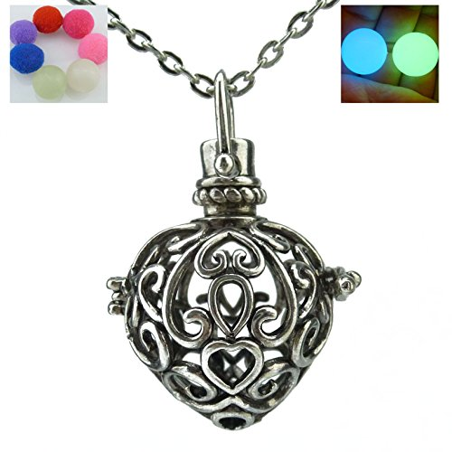 Noctilucence Glow Heart Locket Necklace Cage Fragrance Essential Oil Aromatherapy Diffuser