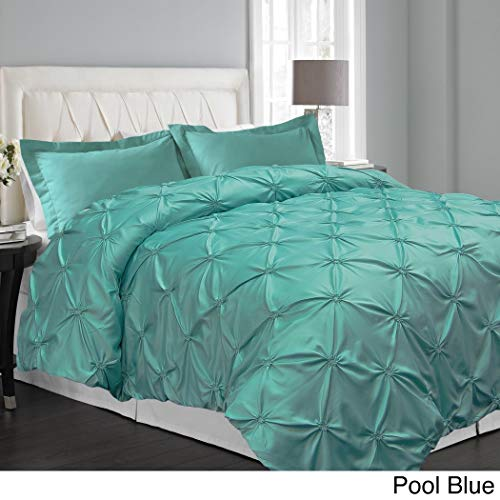 3pc Teal Pinch Pleated Duvet Cover King Set, Blue Aqua Turquoise, Chic Pinched Pleat Pintuck Diamond Tufted Textured Bedding, Stylish Pin Tuck Puckered Texture Themed