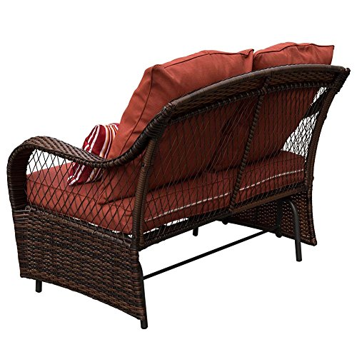 Sundale Outdoor 2 Person Wicker Loveseat Glider Bench Chair Patio Porch Swing With Rocker Brown