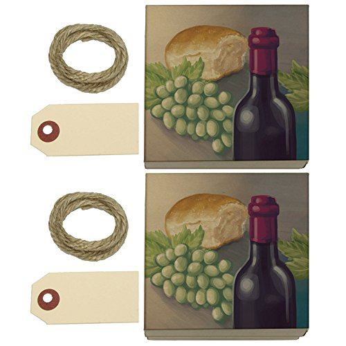 - Wine Bottle with Bread and Grapes Kraft Gift Boxes Set of 2