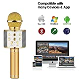 Axcess Wireless Karaoke Microphone, Built-in Bluetooth Microphone Speaker Karaoke Player with Mic KTV, Compatible with PC / iPad / iPhone / Smartphone, Best Choice for Home KTV or Outdoor Party Gold