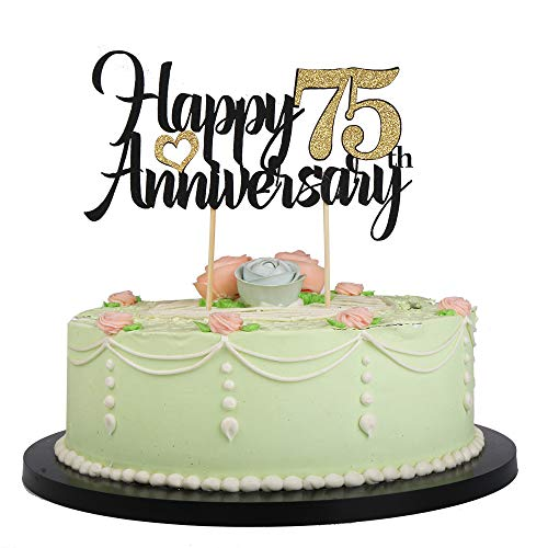 LVEUD Happy Birthday Cake Topper Black Font Golden Numbers Happy 75th Anniversary Birthday Cake Topper-Wedding,Anniversary,Birthday Party Decorations (75th)