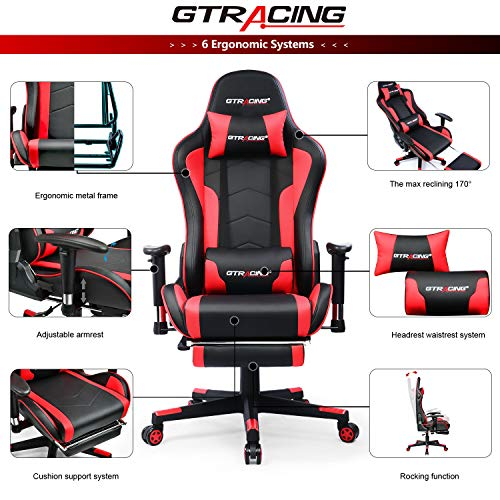 Gtracing Gaming Chair With Footrest And Bluetooth Speakers