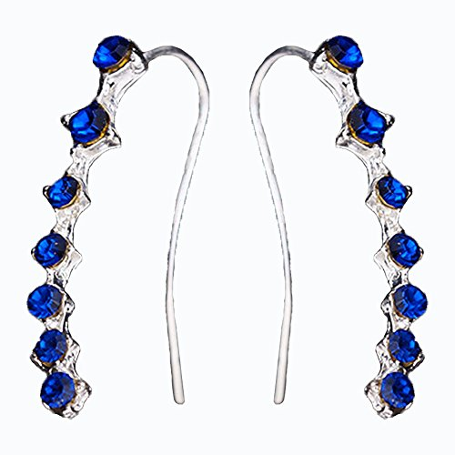 Cute Sweep up Cubic Zirconia Blue Crystal Ear Crawler Vine Wrap Pin Ear Stud Cuff Climber Earrings Silver