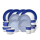 Gourmet Basics Madison 48 Piece Dinnerware Set, Service for 12, White and Blue