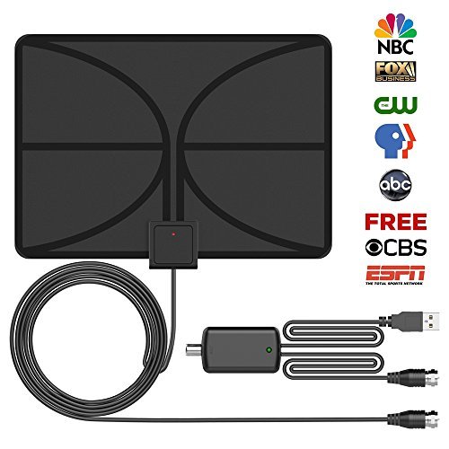 ShiRui TV Antenna 50 Miles Long Range Amplifier Digital HDTV Antenna with Amplifier Channels Booster Free TV Programs Indoor Upgraded Version 13ft Coaxial Cable Transparent