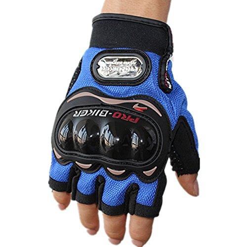Wonzone Motorbike Protective Carbon Fiber Powersports Off-Road Racing Cycling Motorcycle Half Finger Motocross Motor Gloves (Blue, Medium)
