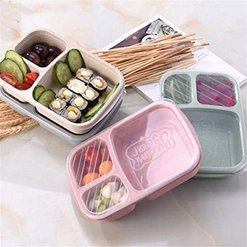 Food Grade Rice Husk Lunch Box Wheat Cutlery Lunchbox Wheat Straw Grid Box Lunch Box Square Snack Bento Box Pink Lunch Box 800Ml - Lunch Transformer Metal Box