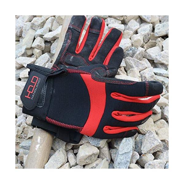 HANDLANDY Hi-vis Reflective Work Gloves, Anti Vibration Safety Gloves, Touch Screen, Orange Flexible Spandex Back (Small… 6