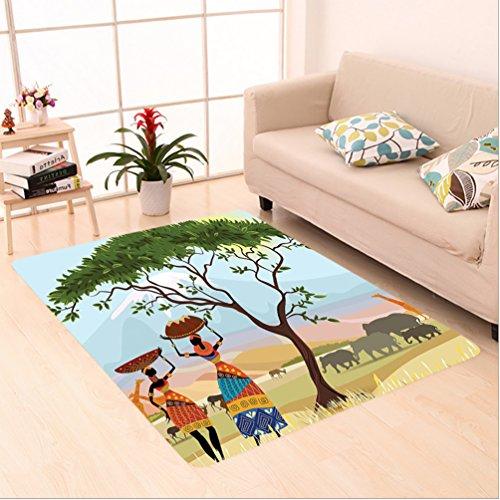Nalahome Custom carpet Decor Ethno Women in Mountain Range Landscape with Giraffe and Elephant Boho Illustration Multi area rugs for Living Dining Room Bedroom Hallway Office Carpet (4' X 6')