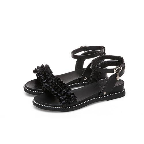 5cbe38db02a4 Women Fashion Slope Heels Sandals Flower Hasp Round Toe Beach Slippers Black