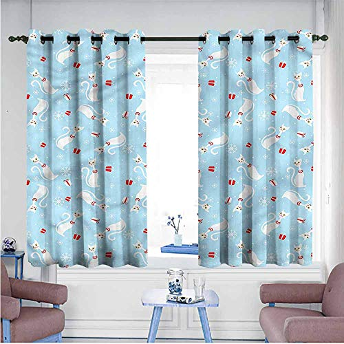 (Mdxizc Fresh Curtains Christmas Cats with Necklaces Durable W55 xL45 Suitable for Bedroom,Living,Room,Study, etc.)