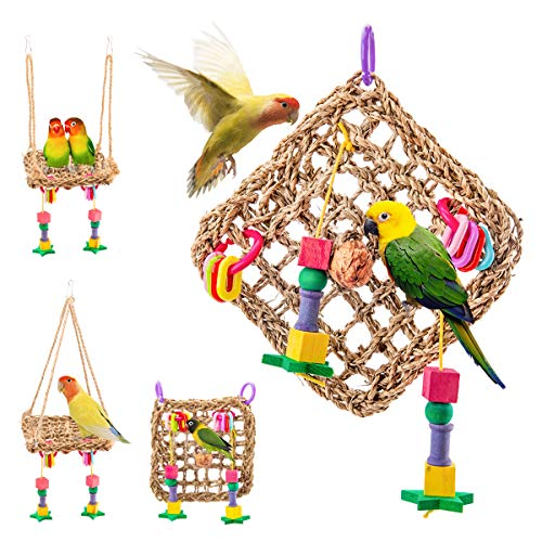 Wieppo Bird Foraging Toys, Bird Hammock Toys Woven Grass Cage Mat, Nature Seagrass Bird Chewing Toys Hanging Perch Wall for Small & Medium Bird, Parakeet, Cockatiel, Budgie, Lovebird, Jardine, etc