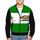 988Iron Northern California Bear Flag Men's Classic Zipper Jacket Coat
