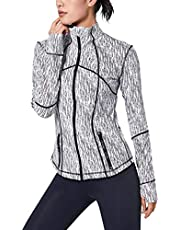 Duyang Women's Full Zip Up Active Running Jacket Long Sleeve Workout Yoga Jacket With Thumbs Holes