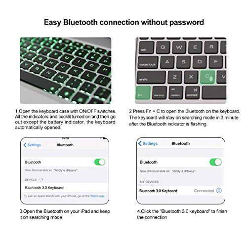 iPad Pro 9.7 Keyboard Case, iEGrow F06 7 Colors Backlit Slim Aluminum Bluetooth Keyboard with Protective Clamshell Case Cover and 2800 mAh External Battery for iPad Air 2 and Pro 9.7(Silver) by iEGrow (Image #6)