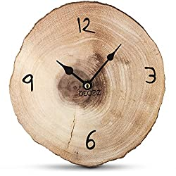 Decodyne Tree Bark Shaped Clock - 8.5 Inches - MDF Wood - Natural Wood Grain Appearance - Minimalistic Indicators - Perfect for Cabins and Rustic Homes