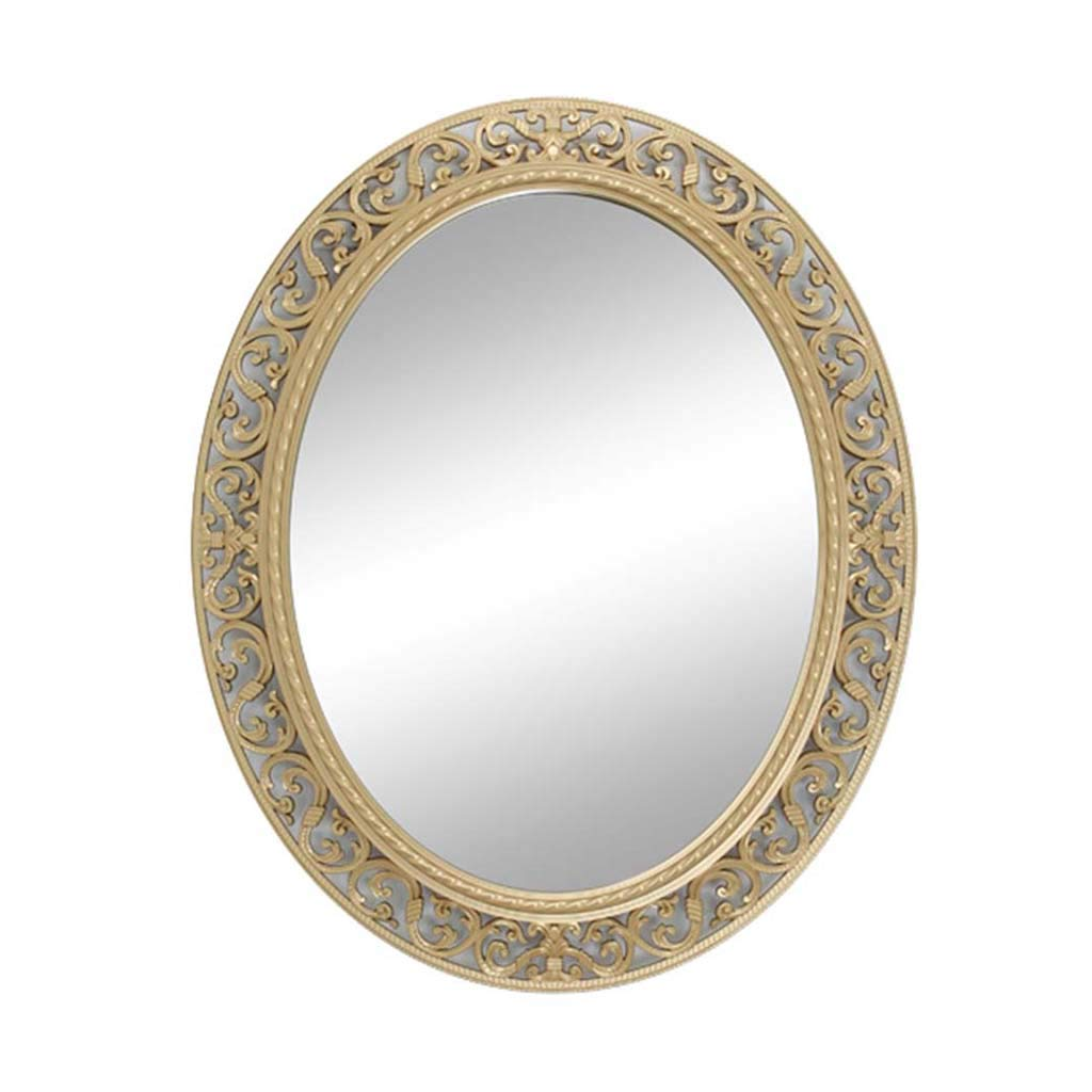 Champagne Greawei@ Bathroom Vanity Mirror, European Modern Hollow Craft Mirror - Oval Glass Decorative Mirror -55  66cm Simple and Elegant (color   Silver)