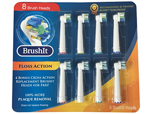 Toothbrush Replacement Heads Refill for Oral-B Electric Toothbrush, 4 Floss Action, 4 cross action, 8 Count (Brush Cleaning Replacement Head)