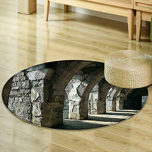 for Bedroom Apartment Decor Collection Dark Corridor Inter with Arcs Ruins of Ancient City Smyrna Izmir Turkey Heritage Picture Brown Circle Rugs for Living Room R-35 ()