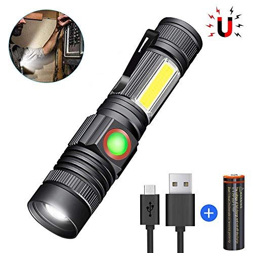 Magnetic LED Flashlight USB Rechargeable (18650 Battery Included) COB Side Light Waterproof Zoomable Super Bright Tactical Flashlight Torch 4 Lighting Modes for Outdoor Camping Hiking Cycling
