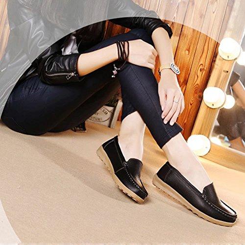 CIOR Damen Leder Casual Loafer Schuhe Mokassin Flache Slip-on-Hausschuhe Schwarz