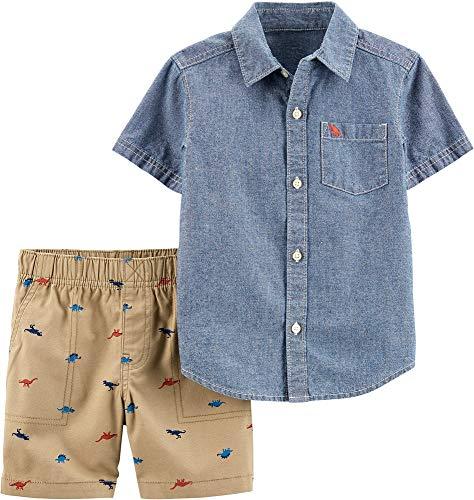 - Carter's Baby Boys Dinosaur Denim Button Down Shorts Set 18 Months Blue/Beige