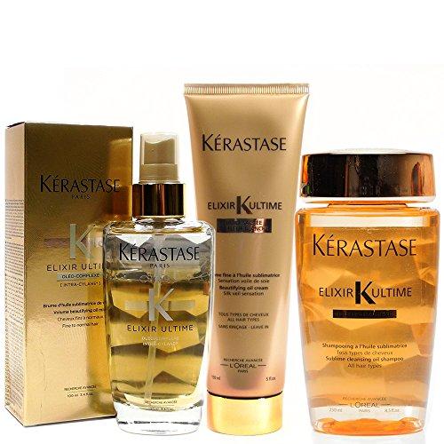 - Kerastase Elixir Ultime Huile Lavante Bain 250Ml Crã¨Me Fine 150Ml And Fine Hair Oil 100Ml Bundle