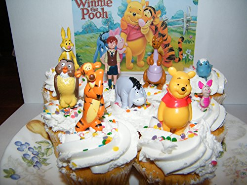 Amazon Disney Winnie The Pooh Deluxe Mini Cake Toppers Cupcake Decorations Set Of 9 Figures With Tigger Owl Chistopher Robin And More