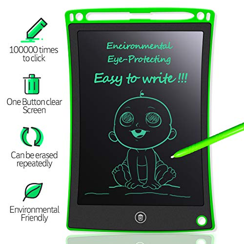 (MYMAHDI LCD Writing Tablet, 8.5 inch Doodle Board, Electronic Drawing & Writing Board, with Smart Writing Stylus for Kids Gifts, School,Office, Fridge or Family Memo, Green )