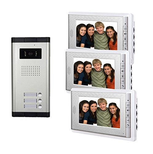 AMOCAM Video Door Phone Intercom System, Wired Doorbell Kits, 1 Night Vision Camera 3 screen, 7inch LCD Monitor, Support 3 Units Apartment, Monitoring, Unlock, Dual way Door Talking by AMOCAM