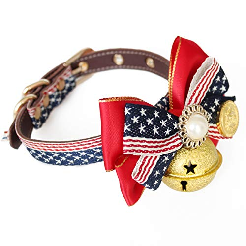 Dog Collar with Bell Adjustable Bowtie Collar for Pet, Comfortable and Soft Neckties Cat Collars, Leather Bow Ties for Pet