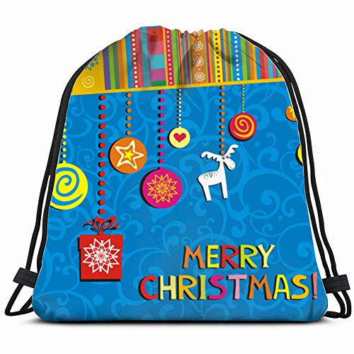 - Christmas Greeting Card Winter Holidays Drawstring Bulk Bags Cinch Sacks Backpack Pull String Bags 14.2 x 16.9 Inch