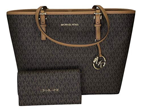 MICHAEL Michael Kors Jet Set Travel MD Carryall Tote bundled with Michael Kors Jet Set Travel Large Trifold Wallet (Signature MK Brown/Acorn) (Brillen Von Michael Kors)