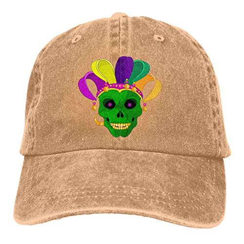 Jester Hats Wholesale (Men Women Mardi Gras Skull Jester Vintage Washed Dad Hat Cool Adjustable Baseball)
