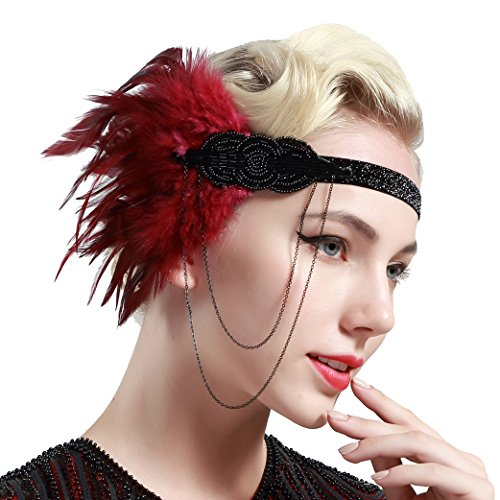 Red Flapper Headpiece (BABEYOND 1920s Flapper Headband Roaring 20s Great Gatsby Headpiece Beaded Feather Headband 1920s Flapper Gatsby Hair Accessories (Wine red))