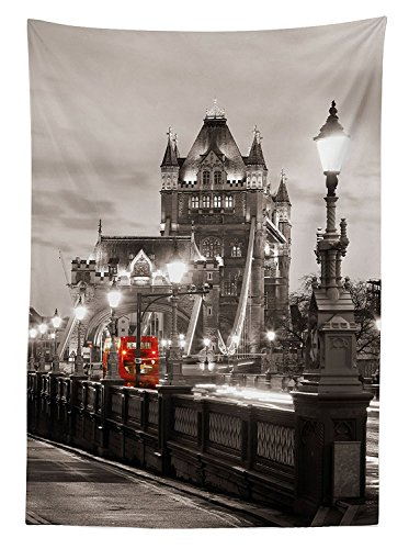 th London Themed Decor Tower Bridge in the Famous City Urban Life Scenery European Picture Dining Room Kitchen Rectangular Table Cover ()