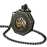 ShoppeWatch Skeleton Pocket Watch with Chain Bronze Octagon Case Steampunk Costume Railroad Style Mechanical Movement… 8