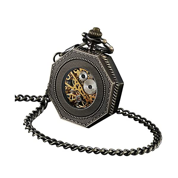 ShoppeWatch Skeleton Pocket Watch with Chain Bronze Octagon Case Steampunk Costume Railroad Style Mechanical Movement… 5