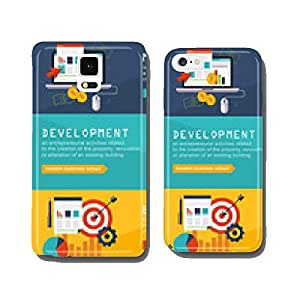 Set of modern flat design business vector infographics banners cell phone cover case Samsung S5