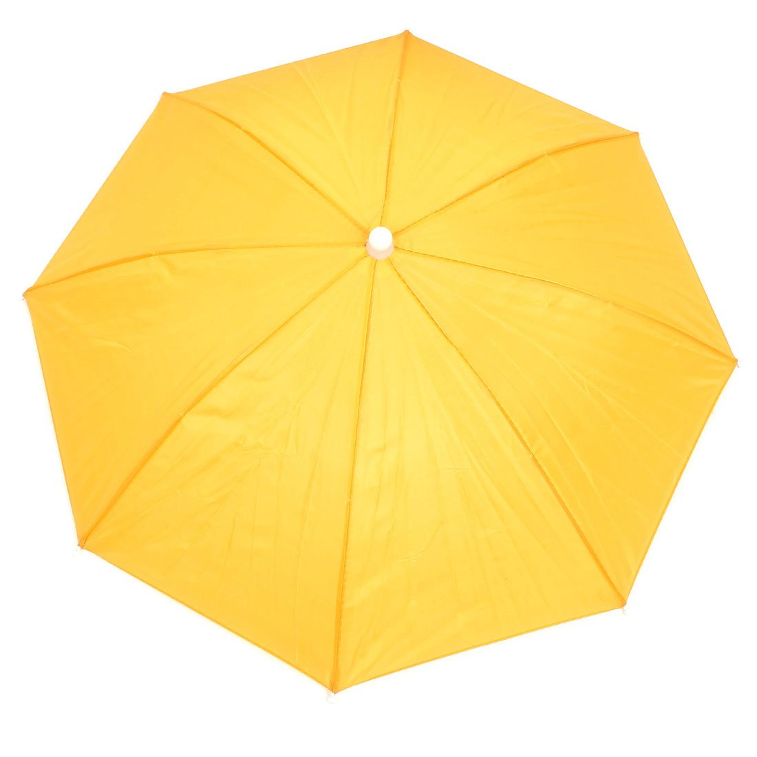 uxcell Outdoor Fishing Headwear Polyester Canopy Umbrella Hat Cap Yellow