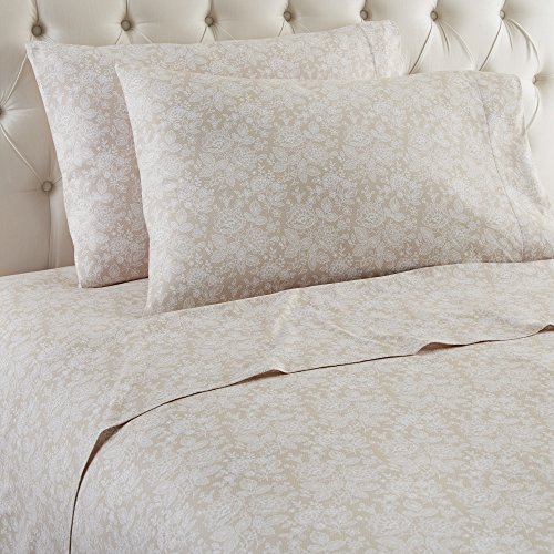 Thermee Micro Flannel Shavel Home Products Sheet Set, King, Romance/Taupe