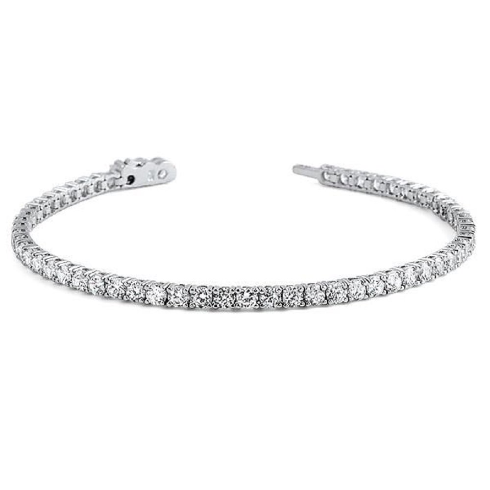 Pori Jewelers Sterling Silver Round Cut 3MM Cubic Zirconia Tennis Bracelet- Classic, Elegant design (7)