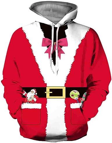 LUNULE Feliz Navidad Sudadera Pareja con Estampado 3D Santa Claus ...