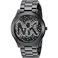 Micheal Kors Slim Runway logotipo, color negro watch mk3589de la mujer