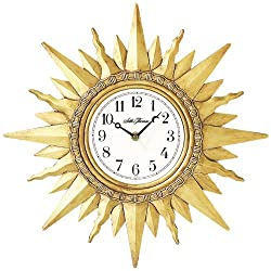 Seth Thomas Sunburst White Dial Antiqued Gold Resin Case with Wall Clock