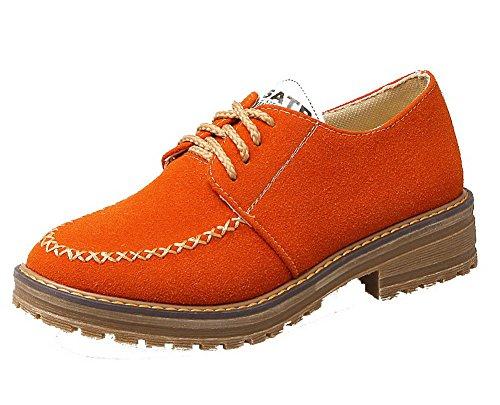 Puntera De Tacón Zapatos Cordón Tsmdh004237 Aalardom Redonda Tacón Bajo Naranja Mujeres 0twq8xaHS