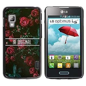 Caucho caso de Shell duro de la cubierta de accesorios de protección BY RAYDREAMMM - LG Optimus L5 II Dual E455 E460 - Roses Floral Motivational