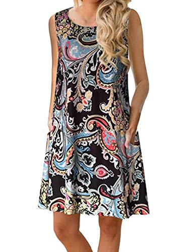 - Sherosa Women's Sleeveless Pockets Casual Swing T-Shirt Dresses (L, A-Pattern 1)