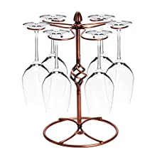 Wine Glass Holder Stand Stemware Rack Storage with 6 Hooks, Metal, Chrome Plated, Brown